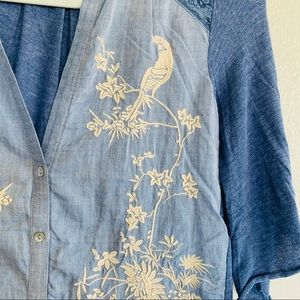 Anthropologie Tops - Tiny Anthropologie Chambray Embroidered Button Top